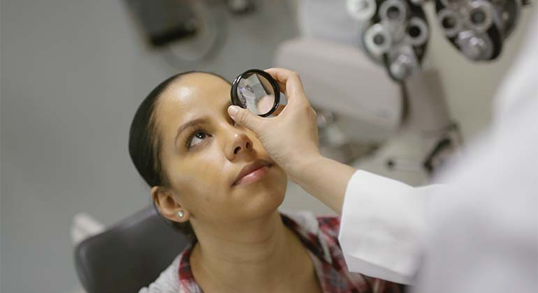 Patient with an eye doctor