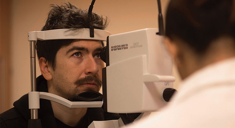 Patient visiting his eye doctor