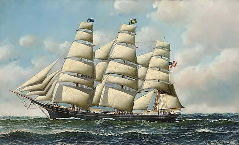A clipper sailing on the sea