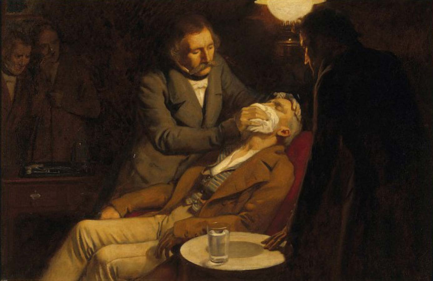 Painting of Dr. William T. G. Morton demonstrating the use of ether-induced anesthesia