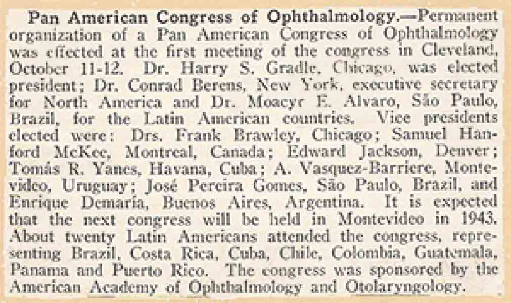 Artile about the first Pan American Congress of Ophthalmology